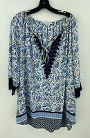 Daniel Rainn 2X Blouse Top Womens Floral Boho Crochett 3/4 Sleeve NWOT B40-05