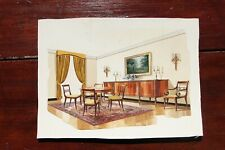 1960s French Interior Gouache Design Project depicting a Dining Room