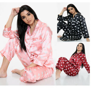 New Womens Heart Print SATIN PJ Set Button Up Ladies Pyjamas Set Size 6-16