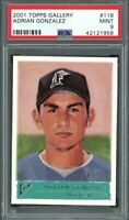 2001 topps gallery #118 ADRIAN GONZALEZ florida marlins rookie card PSA 9