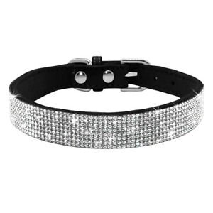 Small Medium Dog Collars Bling Diamante Necklace Soft Suede for Pet Puppy Black