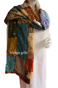 Handmade Indian Silk Fashion Scarves Gifts for Women Multi-Color Hot Scarf 1 Pcs