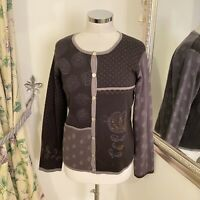 Gudrun Sjoden Size M 12 14 grey knitted embroidered pearl cotton cardigan cosy