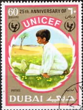 Dubai Arab Boy and Pigeon in Desert stamp 1970