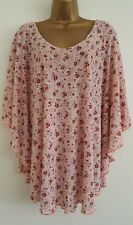 NEW ExYours Plus Size 16-32 Batwing Ditsy Floral Print Pink Red Top Blouse Tunic