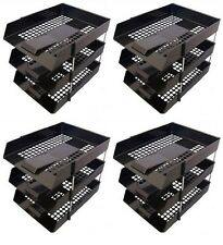 12 BLACK A4 Letter Filing In Out Desk Trays + 8 Risers Stacking Paper Office