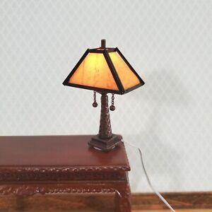 Dollhouse Miniature Lamp Arts & Crafts Craftsman Style Large 1:12 Scale 12 volt