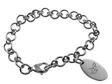 NFL Minnesota Vikings Stainless Steel Logo Dangle Charm Bracelet