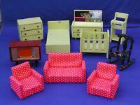 Vintage 1960's Dol-Toi /Barton/Lundby? Wood Dollhouse Furniture Lot Bdrm, LR, TV