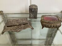ANTIQUE Vtg Lot Silver Tone Brass Repousse Victorian Stamp Footed Trinket Box