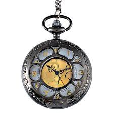 Vintage Golden Dial Pocket Watch Hollow Antique Quartz Pendant Necklace Chain