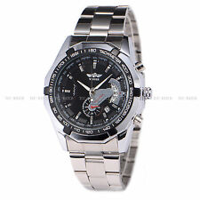 Winner Mechanical Automatic Skeleton gents Analog Stainless Steel Mens Watch HOT