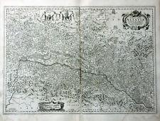 FRANKREICH ELSASS STRASSBURG JANSSONIUS KUPFERSTICHKARTE KARTUSCHE WAPPEN 1658