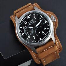 47mm Parnis Power Reserve steel case Black Dial Automatic Leather Men WristWatch
