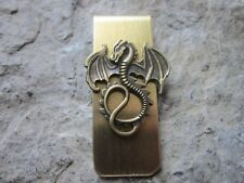 Bronze Dragon Gold Plated Brass Money Clip - Father'S Day - Mythical