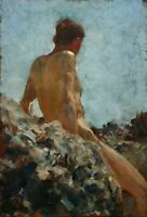 Dream-art Oil painting Henry Scott Tuke - gay Nude young boy bather in landscape