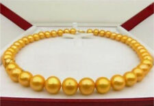 "10-11MM 14K SOUTH SEA GOLDEN NATURAL PEARL NECKLACE 18"" 14K YELLOW GOLD CLASP"
