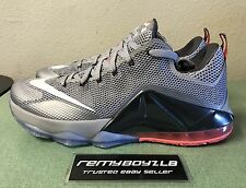 Nike LeBron Low XII 12 Mens Sz 13.5 Wolf Grey Hot Lava Black Basketball Shoes