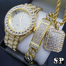 MEN'S ICED HIP HOP GOLD PT WATCH & FULL ICED NECKLACE & BRACELET COMBO SET