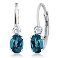 1.18 Ct Oval London Blue Topaz White Sapphire 925 Silver Leverback Earrings