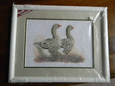 Framed Needle Treasures ColorArt Cross Stitch Pair Of Geese Bird Jca New 19x15