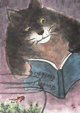 LinLi888 Art ACEO Original Watercolor Painting Cat Goldfish Book 21032101