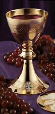 Etched Celtic Cross Chalice with Paten - Brass & Gold Plated - Free Shipping