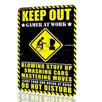 Metal Sign Humor KEEP OUT Gamer at Work DO NOT DISTURB Video Game Arcade Rusted