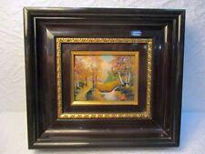 """Petit tableau Emaux de Limoges Signé P.R, Limoges """" Paysage forestier """""""