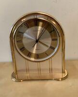 Vintage Hampton Brass Heavy Mantle Table Clock Made in West Germany Quartz Work