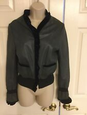 Womens Blue  Leather Fitted Jacket with Ruffle MADE IN ITALY