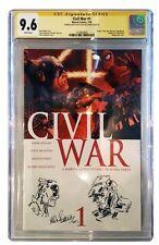 Civil War #1 CGC 9.6 SS Signed & Original Sketch Allen Bellman 2006 Mark Millar