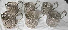 STUNNING ANTIQUE GERMAN 6 SOLID SILVER CUP HOLDERS-SHOWING DIFFERENT SCENES  (S)
