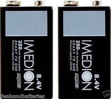 2 Maha Powerex Imedion 9V 8.4V 250mAh Rechargeable NiMH Batteries