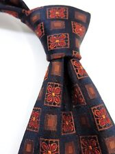 Jaeger Exquisite 100% Woven Silk Tie - Black/Red Square Design - Made in Italy
