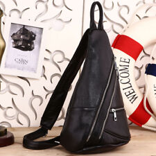 Men's Black Cow Leather Sling Bag Chest Pack Messenger Shoulder Bag Backpack