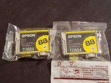 (LOT OF 2) GENUINE EPSON Stylus CX4400 4450 7400 NX100 Yellow Toner 88 T0884