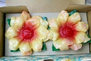 Vintage new- penn wax works floating flower candles-multicolored
