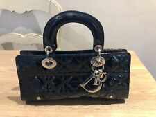 AUTH DIOR LADY DIOR EAST WEST BLACK PATENT BAG