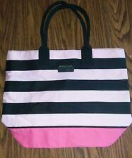 NWOT VICTORIA'S SECRET Pink Black Stripe Getaway Travel Tote Bag Shopper Handbag
