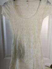 Anthropologie Free People Lined Lace Dress short slv Ivory Floral S pieced skirt