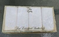 Sweet❤️Vintage Set of 4 White Embroidered Lace Hankies in Box 1940's/1950's NIB
