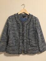 Ann Taylor Blue Tweed Black Faux Leather Trim Front Open Jacket Sz 8