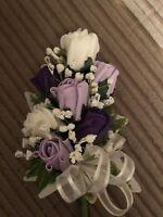 Ladies Wedding Wrist Corsage or Corsage Purple &  Lilac & Ivory Rose's & Gyp