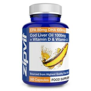 Cod Liver Oil 1000mg Capsules - High Strength, Supports Heart Health, Brain H...