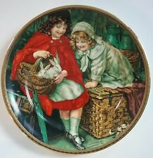 Pears Soap Promotional Plate Artwork Sheridan Knowles Girls w/ Bunnies Pets Red