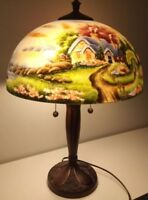 Thomas Kinkade A New Day Dawning Reverse Painted Glass Table Lamp