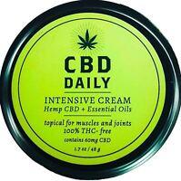 CBD Daily Intensive Cream Hemp Oil Supplements THC Free 1.7 oz