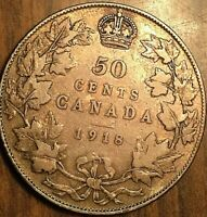 1918 CANADA SILVER 50 CENTS COIN