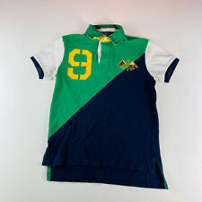 Polo Ralph Lauren Rugby Polo Shirt Green Navy #9 Mens Size Small